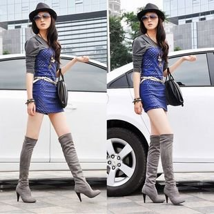 Women Classic Suede High Heels Thigh Knee High Boots
