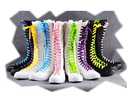 Women's Lace-up Knee High Canvas Rubber Flat Boots