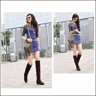 Women's Suede Flat Winter Thigh Knee High Boots