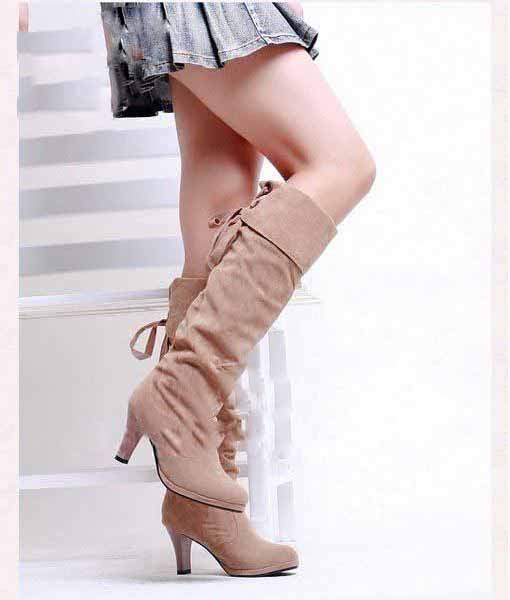 Women Suede High Heels Lace-up Thigh Knee High Boots