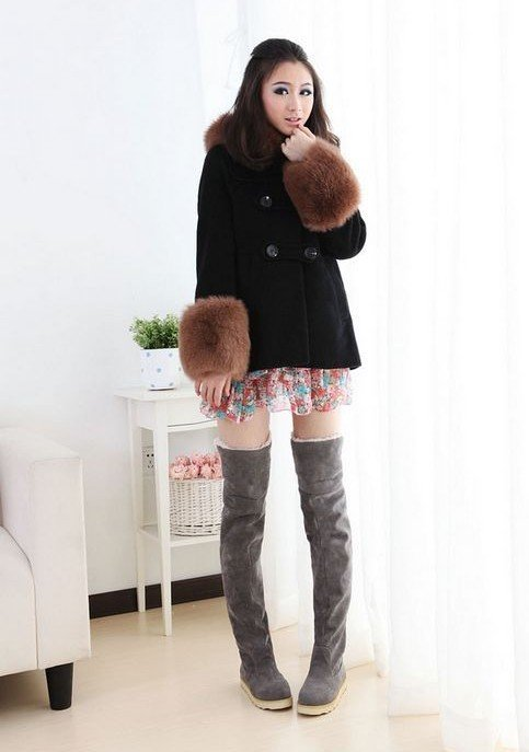 Women's Suede Flat Winter Thigh High Over The Knee Boots