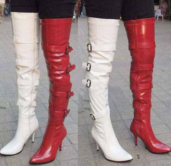 Women Sexy PU High Heel Zipper Thigh High Boots