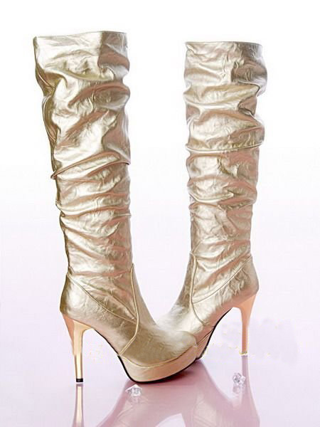 Women Gold Sexy PU Leather High Heel Platform Knee Boots
