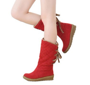 Red Lace-up Canvas Women's Knee High Boots
