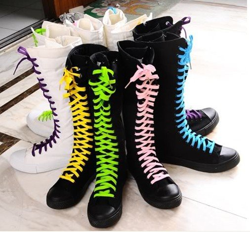 Punk Gothic Black White Canvas Sneakers Sexy Female Knee High Boots