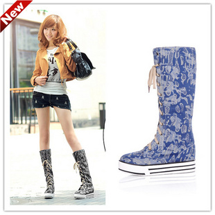 Lace-up Canvas Flat Bottom Thigh-High Boots