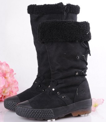 Black Lace-up Canvas Thigh-High Boots
