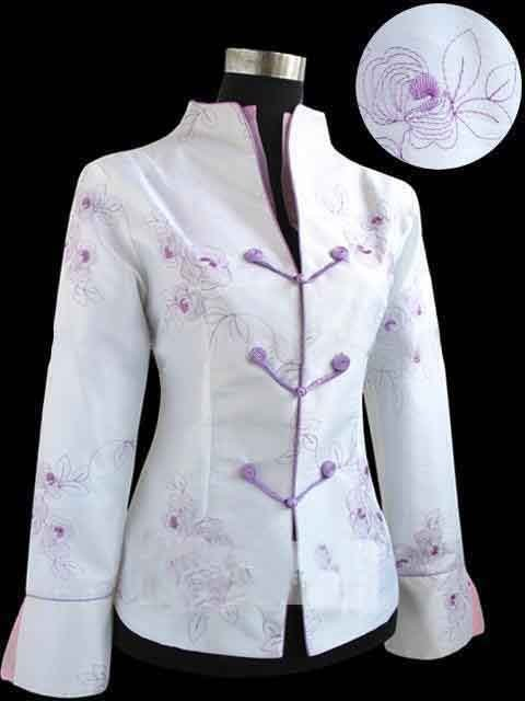 Charming Chinese Women's White Cotton Embroidered Windproof Jacket