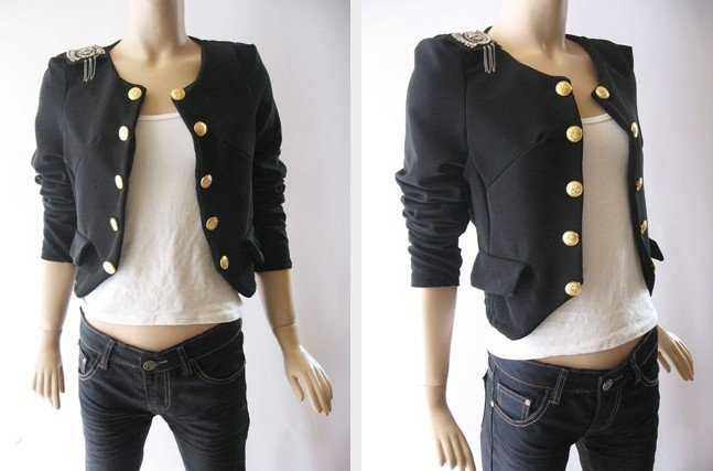 Women's Fitted Military Style Button Blazer Slim Jacket