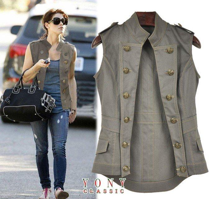 Metal Button Ladies' Weskit Windproof Waistcoat - US$49.00