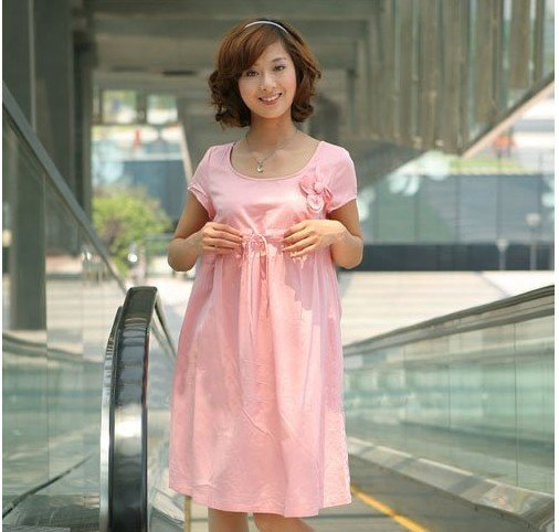 Pink Korean Short Sleeve Cotton Anti-Allergy Anti-Bacterial Maternity Clothing
