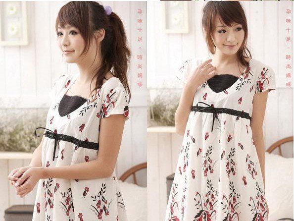 Flowers Korean Cotton Anti-Allergy Anti-Bacterial Maternity Clothing