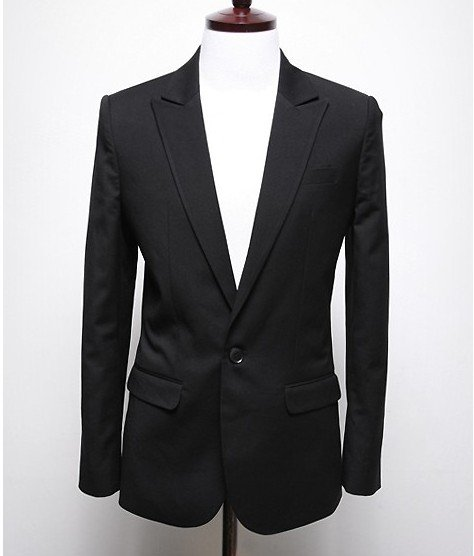 Men's Black Slim Fit Narrow Lapel Single-breast Leisure Coats