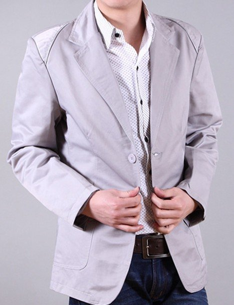 Men's Light Grey Two Grain of Single Line Buckles Slim Fit Lapel Coats