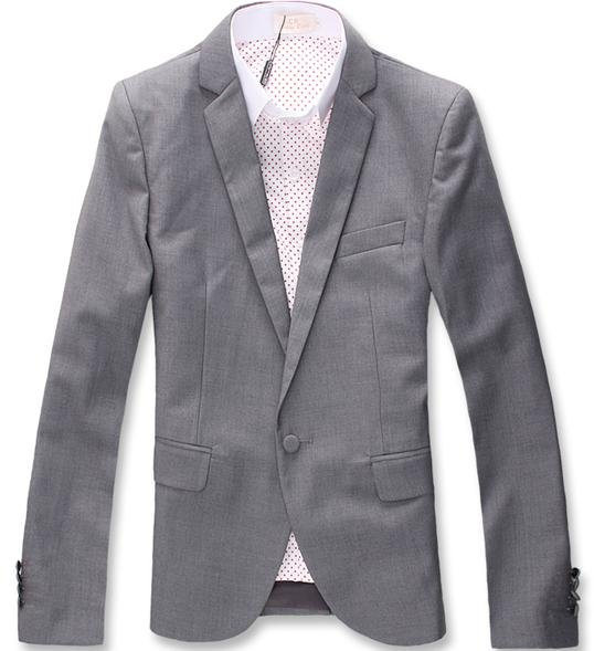 Men's Narrow Collar Single-breast Slim Fit Business Coats