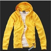 Men's Yelloow Cotton Zipper Even Cap Long Sleeves Jacket
