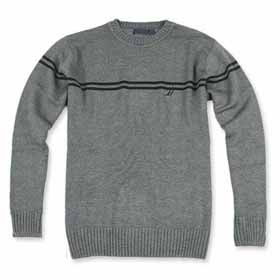 Men's Gray Long Sleeve O-neck Crewneck Sweaters