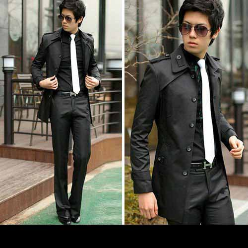 Slim Fit Coat Men's Stylish Collar Long Jackets