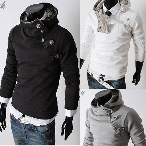Men's High Collar Cotton Hoodie Even Cap Slim Fit Jacket