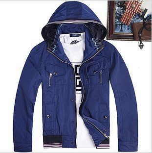 Men's Casual Light Blue Even Cap Zipper Cotton Jacket