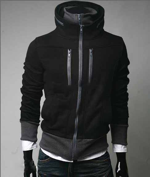 Men's Black Cotton High Collar Zipper Even Cap Jacket