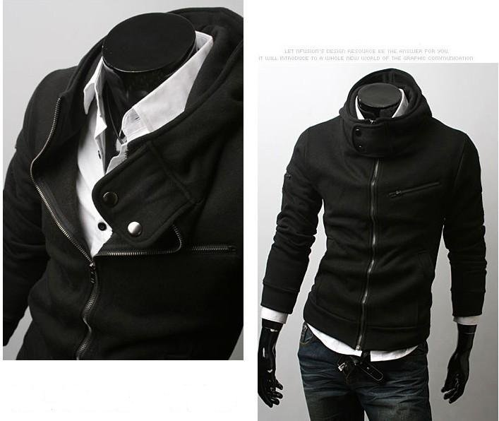Men's Zipper High Collar Even Cap Cotton Jacket