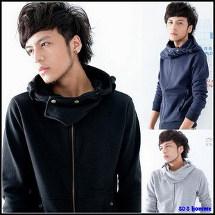 Men's Cotton Even Cap Zipper Long Sleeve Sweater Jacket