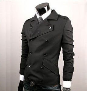 Men's Slim Fit Double Breast Cotton Blend Lapel Black Trench Coat