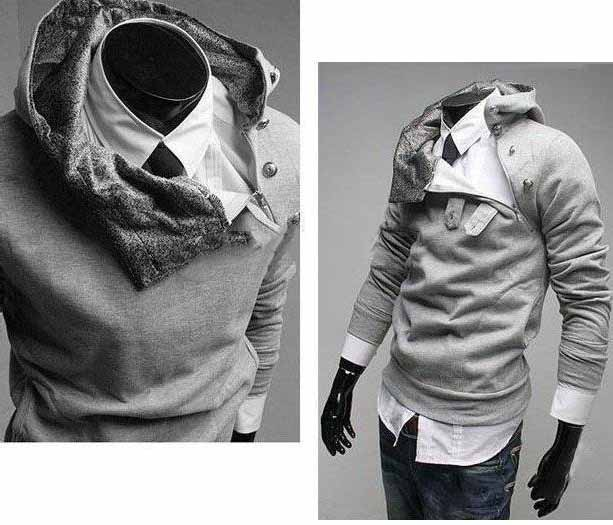 Rabbit Collar Men's Long Sleeve Hoodies Sweatshirts / Cardigan
