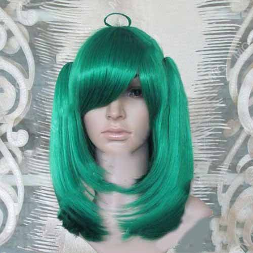 Non-Remy Synthetic Short Green Anime Cosplay Wig