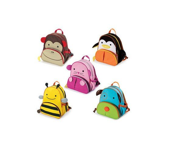 Cartton Images On With Zipper Nylon Kids Backpacks