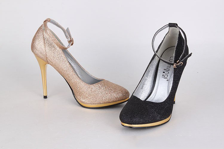 Women's Glitter Lining Material Gold Colour Heels High-heels Sandal