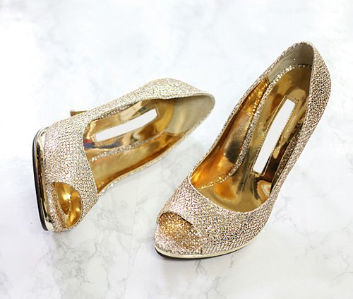 Peep Toe High Heel Gold Pumps Evening Dress Shoes for Women