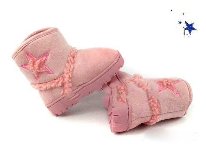 Super Soft Plush Cotton Fabric Rubber Three Colours Star Baby Winter Boots