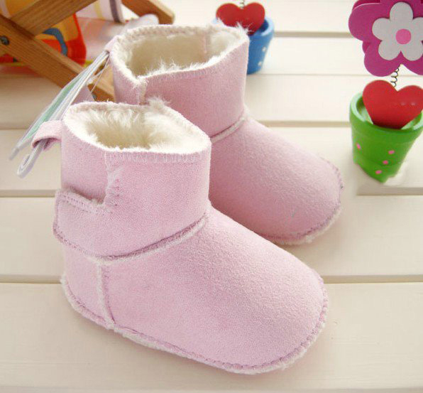 Cotton Rubber Fabric Baby Walking Winter Pink and Brown Boots