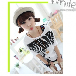 Amanda49 Cute Round Neckline Zebra Patterns White Bat-Wing Sleeves Cotton+Spandex T-Shirt For Women