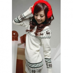 Amanda49 Lovely and Slim Deer Patterns Long Sleeve Sweater