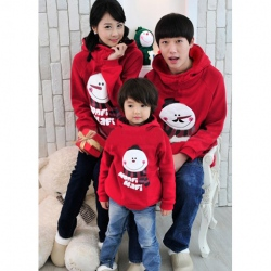Amanda49 Hot Sale Korea Fashion Smile Snowman Printing Long Sleeve Hooded Sweater--Family Suits
