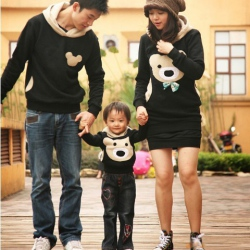 Amanda49 New Arrival Cute Bear Long Sleeve Hooded Sweater--Famliy Suits