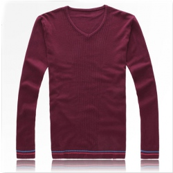 Amanda49 Fashion Simple Style V-neck Long Sleeve Bottoming Knitting Sweater For Man