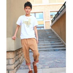 Amanda49 School Broken Hole Style Cotton Long Trousers For Men