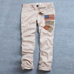 Amanda49 Leisure American Flag Patch Embellished Special Back Pocket Design Trousers For Men