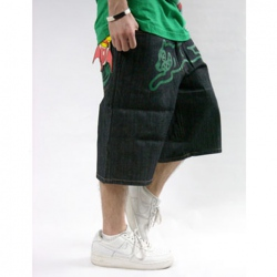 Amanda49 Hip Hop Style Casual Street Fashion Feel Cartoon Green Jean Trousers For Man