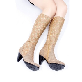 Women's Canvas High Heel Side Zipper Knee High Boots