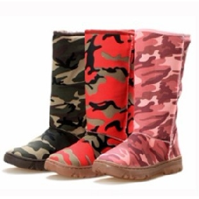 Women's Camouflage Canvas Flat Winter Knee High Boots