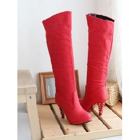 Women's Denim Canvas Rivet High-heeled Platform Knee High Boots