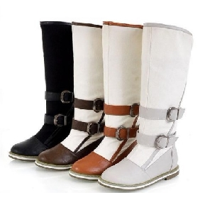 Ladies' Flat with Canvas Belt Buckle Knee High Knight Boots