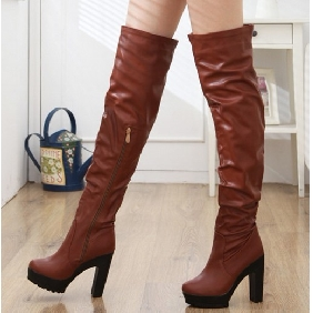 Women PU Leather High-heeled Platform Knight Boots Thigh-High Boots