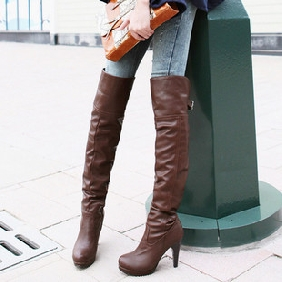 Women PU Leather Western Style Belt Buckle High-heeled Platform Thigh-High Boots