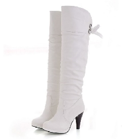 Women Platform Sexy Slim White-collar PU Leather Thigh-High Boots